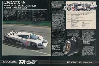 1984 BFGoodrich Tires ad featuring the Mazda-Lola T616
